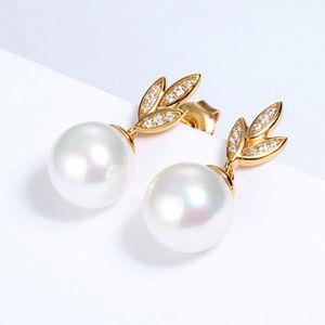 Pearl Gold Leaves Stud Earrings Art deco Earrings